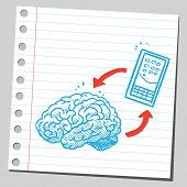 Brain connected with mobile phone