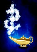 Golden magic lamp and dollar symbol