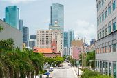MIAMI,USA - MAY 27,2014 : Urban view of downtown Miami with modern skyscrapers along vintage buildin