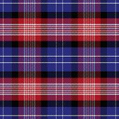 stock photo of tartan plaid  - vector seamless Scottish pattern Saint Andrews Tartan Plaid black white blue red - JPG