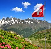 The Mischabel group with Swiss flag - Swiss alps