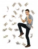 image of dancing rain  - Happy man enjoying rain of money - JPG