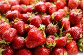 Ripe sweet strawberries close-up