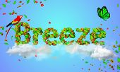 Breeze leaves particles 3D - digital art