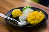 Mango, Pudding, Mango Ice Cream With Sticky Rice