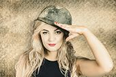 Army Pin-up Girl Signing Up For Recruit Enrolment