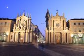 image of turin  - Piazza San Carlo royal square in Turin at twilight - JPG