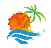 Tropical palm on island with sea. Vector illustration.