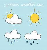 Cartoon weather icons set