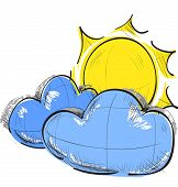 Cloud and sun weather icon