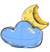 Cloud and moon weather icon