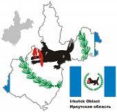 Outline Map Of Irkutsk Oblast With Flag
