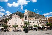 Taormina, Italy - May 11, 2012: Taormina Town Main Square Center With The Chiesa Di San Giuseppe Tem