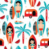 Seamless happy camper summer surfers with surf board and palm tree illustration background pattern i