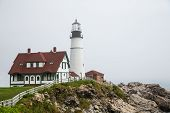 Portland Head Lighthouse In Fog