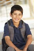 Pre teen boy in school