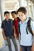 image of pre-teen boy  - Boy being bullied in school - JPG