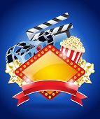 Stereo Film Flyer Design with Popcorn, Strip, Clapper board.