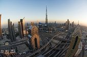 Busy Sheikh Zayed Road in the evening in Dubai, UAE