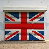 Great Britain Flag On Shop Door