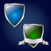 Two Glossy Security Metal Shields With Place For Your Text