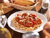 italian spaghetti and meatballs in tomato sauce.
