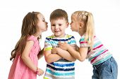 Kids Girls Sharing A Secret With Boy Isolated