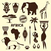 picture of african mask  - Set of african ethnic style icons in flat style - JPG