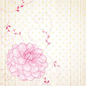 Hand-drawing floral background with flower dahlia.