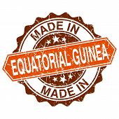 Made In Equatorial Guinea Vintage Stamp Isolated On White Background