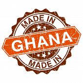 Made In Ghana Vintage Stamp Isolated On White Background