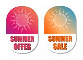Summer Offer And Sale With Sun Signs, Flat Design Labels