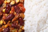 Mexican Food Is Chili Con Carne And Rice Macro Horizontal