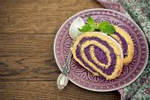 Biscuit roulade with blueberry cream