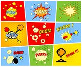 pic of sketch book  - Vector comic boom or blast explosions and comic sound effects set - JPG