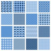 Set of seamless geometric patterns in blue