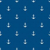 Vector blue anchors seamless pattern