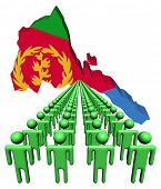 Lines of people with Eritrea map flag illustration