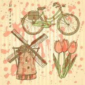 Sketch Holland Windmill, Bicycle And Tulip, Vector Background