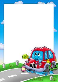 foto of car wash  - Frame with cartoon car wash  - JPG