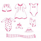 foto of babygro  - Baby garments for the girl sketch pink set - JPG