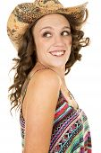 Cowgirl Close Colorful Tank Top Look Back Smile