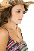 Cowgirl Close Colorful Tank Top Look Serious