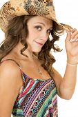 Cowgirl Close Colorful Tank Top Look Touch Hat