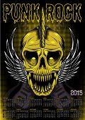 Poster Skull And Calendar For Punk Rock