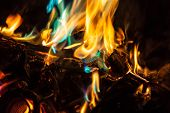 Orange and blue flames of fire