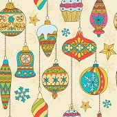 Hand drawn Christmas tree balls. Seamless pattern