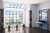 stock photo of window washing  - Bathroom with big window interior 3d render - JPG