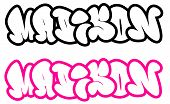 the name Madison in graffiti style funny bubble fonts