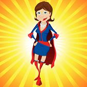 Super Woman Mother Cartoon with Yellow Background